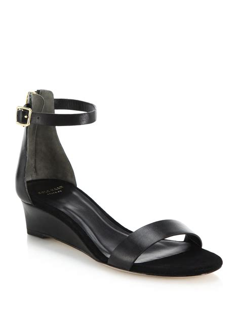cole haan black wedge sandals cole haan leather wedge sandals in black lyst