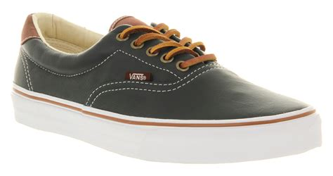 mens vans era 59 dress blue brown leather smu trainers shoes