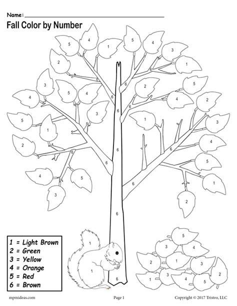 printable number leaves fall color by number worksheets bluegreenish