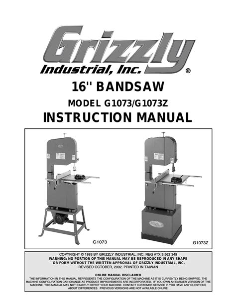 Grizzly G1073 G1073z User Manual 48 Pages