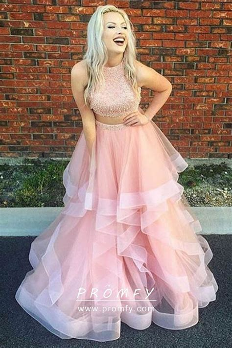 baby pink pearls  tulle  piece cute sleeveless prom
