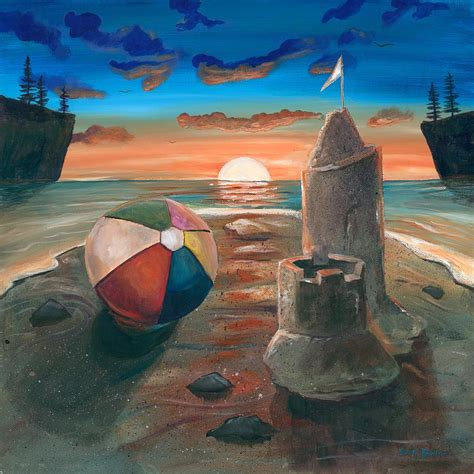 sand castle at sunset painting by shelli bowler