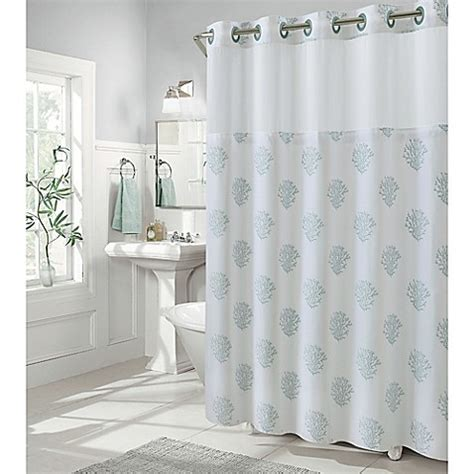 Coral And Grey Curtains Buy Hookless Coral Reef 74 Inch X 71 Inch Shower Curtain In Grey Mist From Bed Bath Beyond