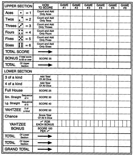 printable yahtzee score card large print yahtzee scoresheet big print no dice the