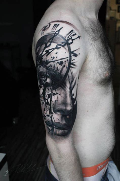 realistic portrait amp clock face arm tattoo best tattoo