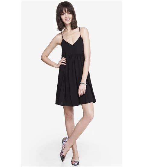 Express Black Rayon Dress express black strappy trapeze babydoll dress in black lyst