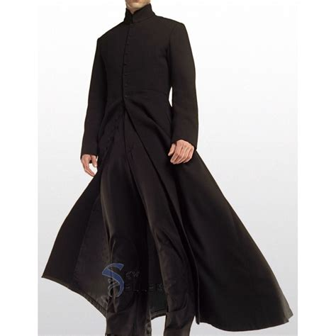 Fashin Neo the matrix neo keanu reeves black trench coat