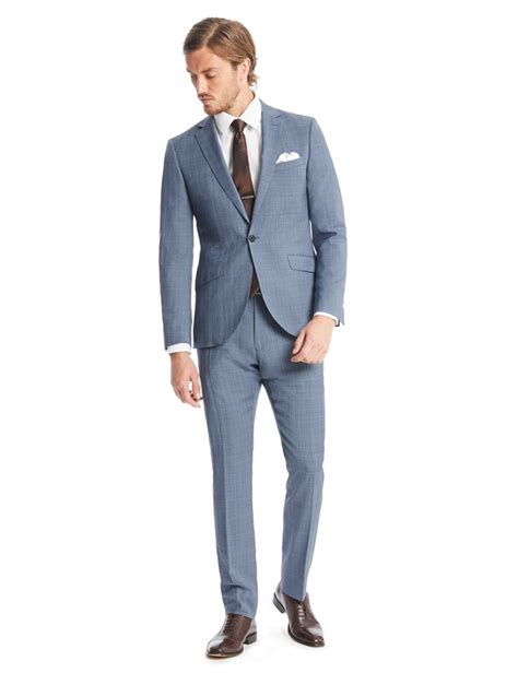 Light Blue Mens by S Light Blue Prince Of Wales Check Slim Fit Suit Hawes And Curtis