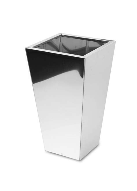 Stainless Steel Planters by Square Taper Mirrored Stainless Steel Planter 40cm X