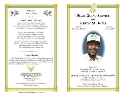 memorial handout template memorial brochure template best and professional templates
