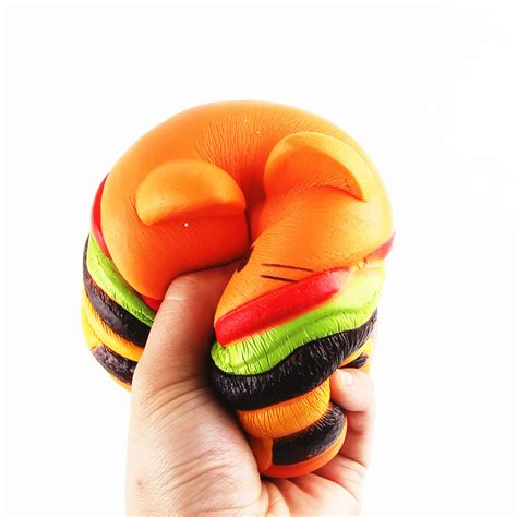 Squishy Original Sanqi Elan Jumbo Hamburger 11 10cm sanqi elan squishys cat burger rising soft animal collection gift decor