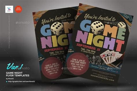 game night flyer templates by kinzi21 graphicriver