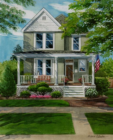 custom house portrait paintings of your home hamilton ontario picturesque two story in brookfield illinois custom