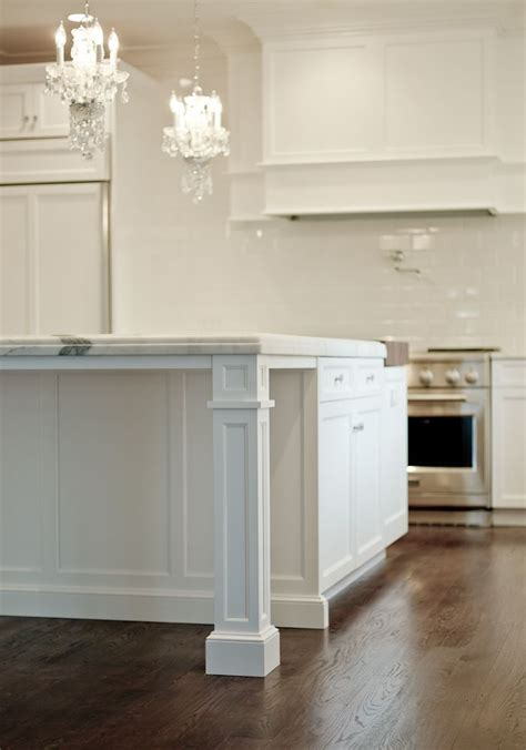 wood legs for kitchen island granite countertop support with pillar white traditional