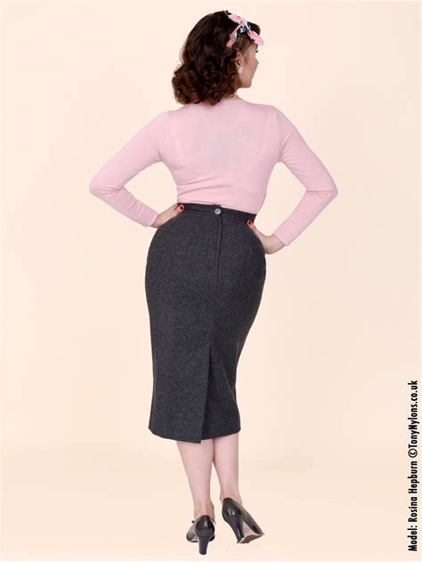 pencil skirt lined grey flannel from vivien of holloway