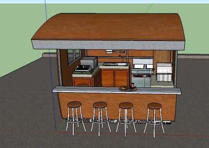 fast food kiosk  skp model  sketchup designs cad