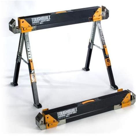Home Depot Saw Horses by Toughbuilt 5 51 In Adjustable Folding Sawhorse Tb C700