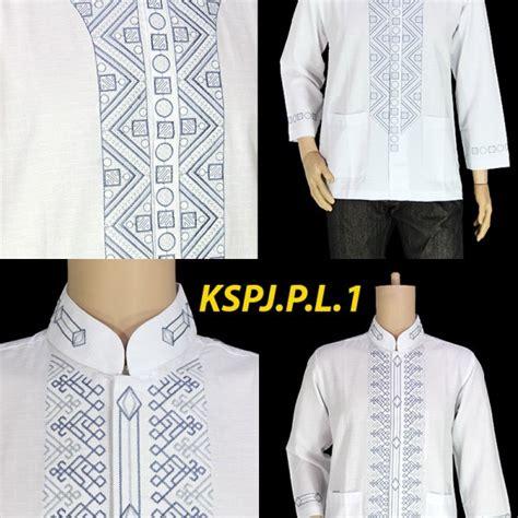Koko Dannis Lengan Panjang Putih 1 baju musim koko bordir pria lengan panjang warna putih