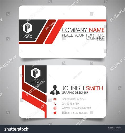horizontal card template modern creative business card name stock vector