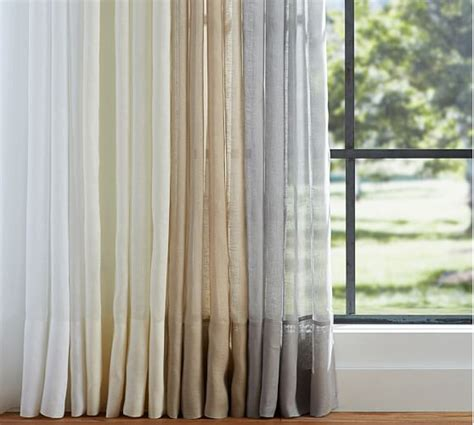 draping sheer curtains belgian flax linen sheer drape pottery barn