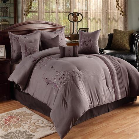 plum comforter sets arabesque plum lavender 8 piece queen comforter bed in a