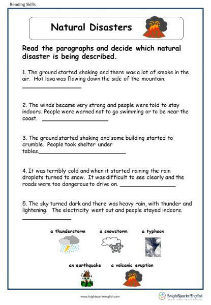 natural disasters english reading worksheet english