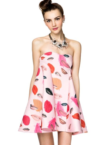Get Imbruglias Mccall Dress by Mccall Strapless Lip Print Dress Cocktail Dresses