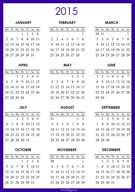 printable calendar 2015 for united states pdf