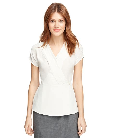Blouse Kensi Free Bros Twiscone brothers silk cap sleeve blouse in white