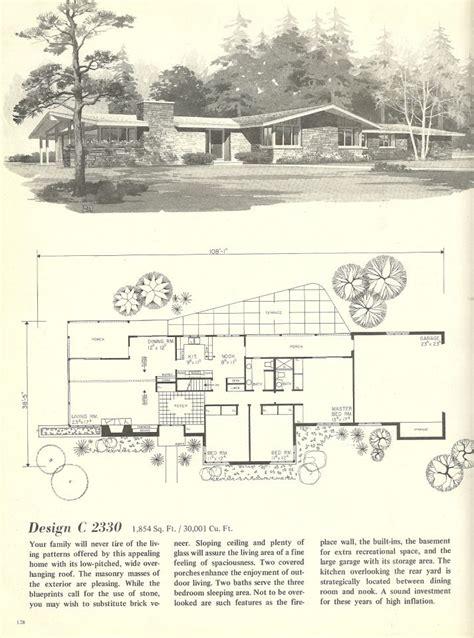 vintage house plans   images mid century