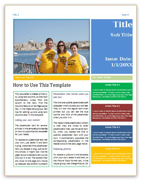 Newsletter Template Word newsletter template 4 pages word save word templates