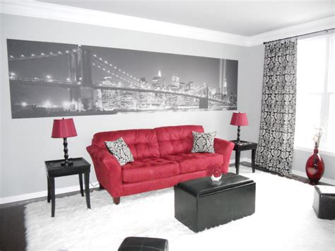 red and black living room decor