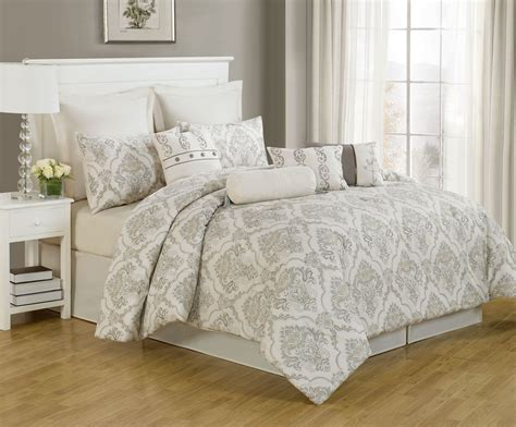Awesome Cream Grey Comforter With 14 Piece Cheap