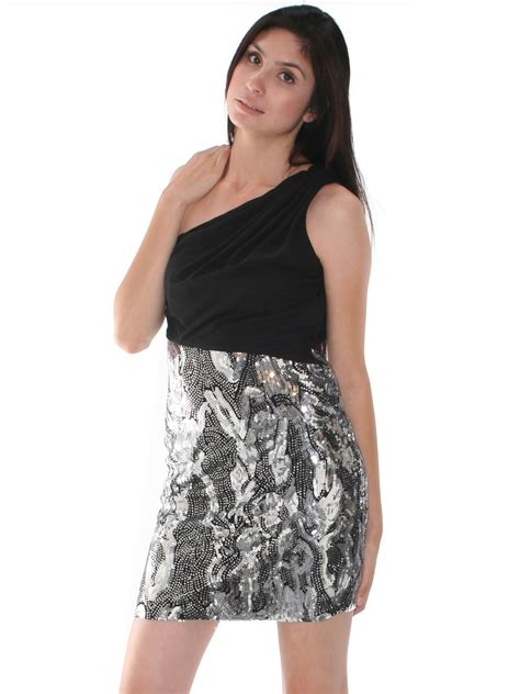 silver l with black silver sequin party dress good dresses