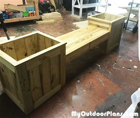 flower pot bench plans diy wooden planter bench myoutdoorplans free