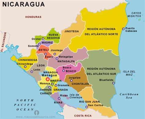 political map of nicaragua free nicaragua map map of nicaragua free map of