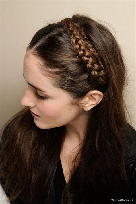 headband hairstyles easy easy headband braid tutorial for long hair