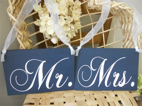 Mr And Mrs Chair Signs by Wedding Signs Navy Blue And White Mr And Mrs Chair Signs