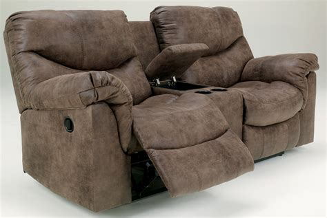 double recliner sofa with console alzena double reclining loveseat with console from ashley