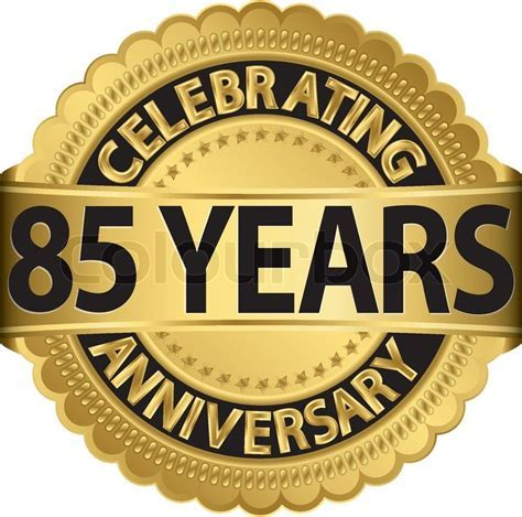 Celebrating 85 years anniversary golden label with ribbon