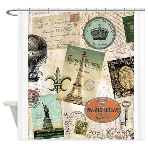 travel curtains vintage travel collage shower curtain by