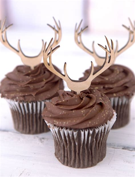 cupcake toppers wooden antlers hunting  boho style
