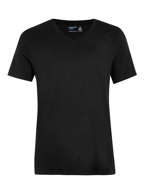 black v neck t shirt topman