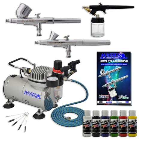 Airbrush Kit 3 new 3 airbrush kit 6 primary colors air compressor dual hobby set ebay