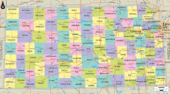 county map with cities and roads political map of kansas ezilon maps
