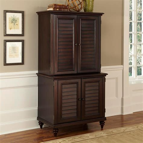 armoire cupboard brown lacquered mahogany wood computer desk armoire with