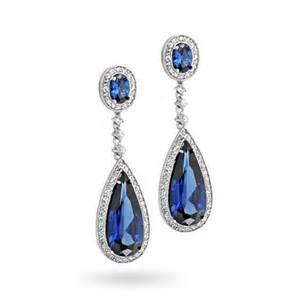 Sapphire Chandelier Earrings Pave Cubic Zirconia Teardrop Chandelier Earrings