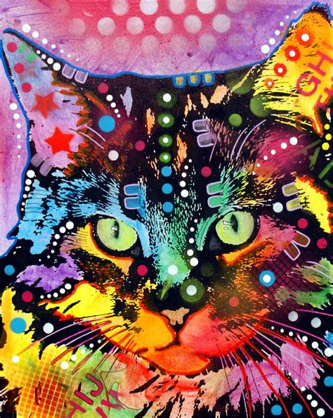 cool cat painting maine coon print by dean russo
