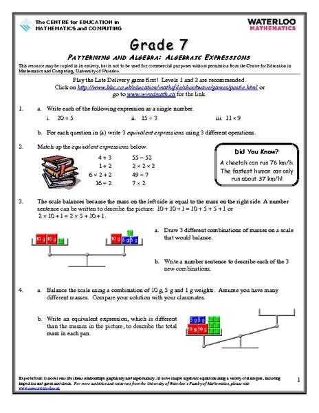 Pattern Games For Grade 7 | free worksheets 187 pattern and algebra worksheets year 5