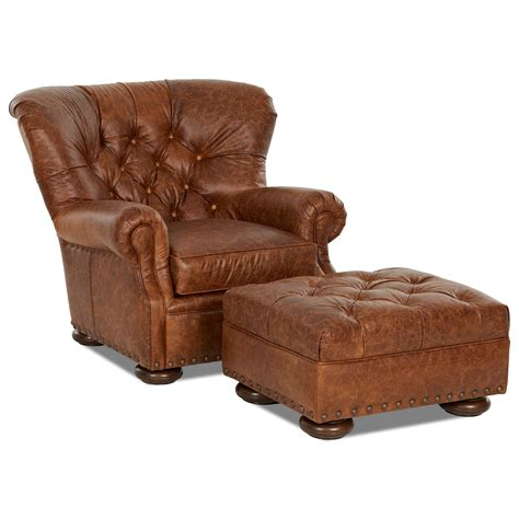 set with ottoman klaussner aspen tufted leather chair and ottoman set